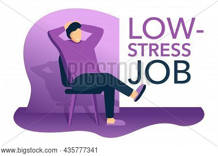 Low-stress Jobs - Sitting And Relaxing Character Happy With His Worktime And Earnings