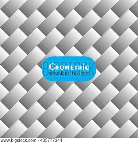 Diagonal Gray Gradient Seamless Texture. Modern Stylish Pattern Sequence Of Weaving Strips. Vector M