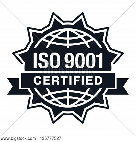 Iso 9001 Certified. Conformity To Standards Badge For Products - Flat Pictogram With International Q
