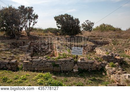 Cape Caliacra, Bulgaria - Sep 14, 2021. Archaeological Remains Of Buildings Were Discovered On The T