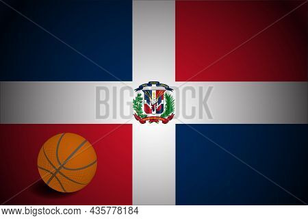 Dominican Republic Flag With Realistic Basketball Ball, Vector
