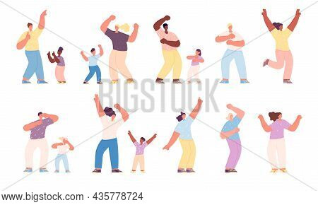 Dancing Family. Happy Dancer Children, Activities Isolated Parents And Kids. Joyful People, Laughing