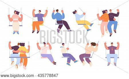 People On Swing. Adults Swinging, Couple Swings Sitting. Romantic Dating, Isolated Cartoon Person In