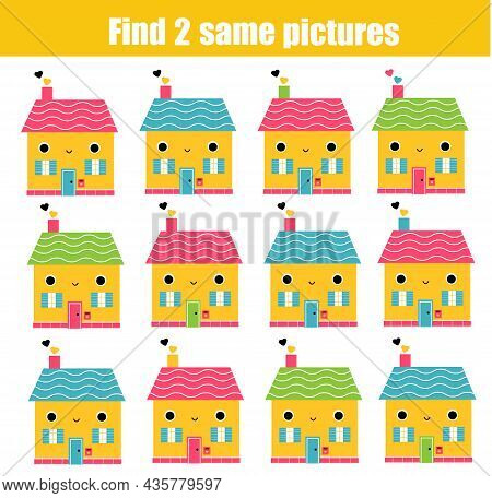Children Educational Game. Find Two Same Pictures Of Cute Houses. Activity Fun Page For Toddlers And