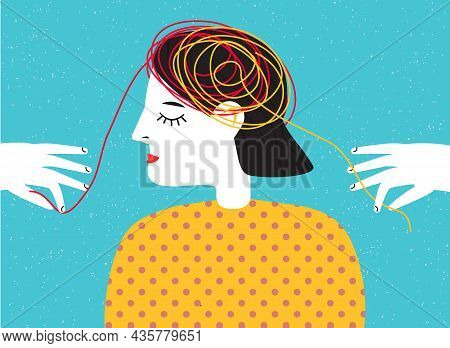Person With Tangled Thread In Head. Mental Health And Psychotherapy Concept. Abstract Vector Illustr
