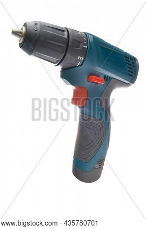 Electric screwdriver isolated on white background. Element of design. Boulding tool and equipment.