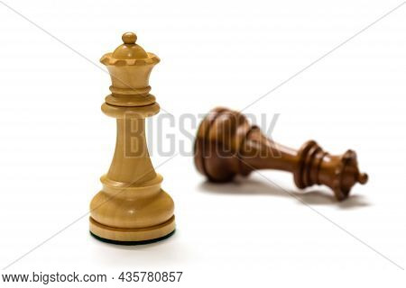 Two Chess Pieces Isolated On White Close Up