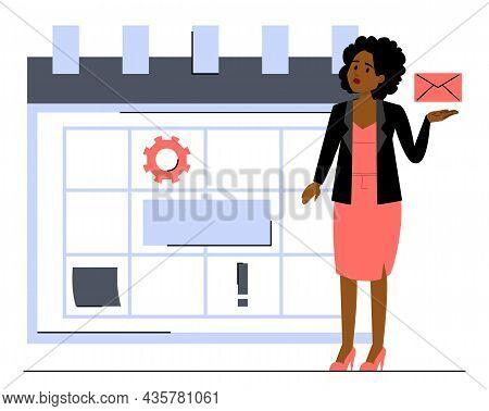 Business Woman Standing At The Big Calendar