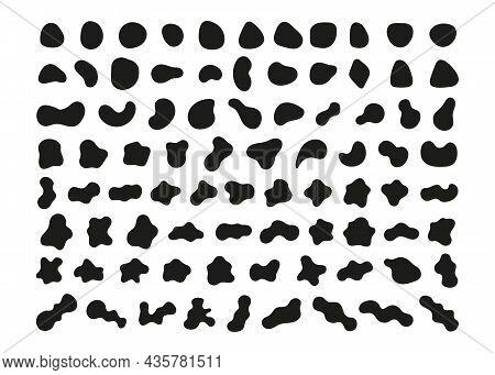Organic Abstract Random Blob Black Shapes Minimal Design. Fluid Irregular Forms Elements. Liquid Blo