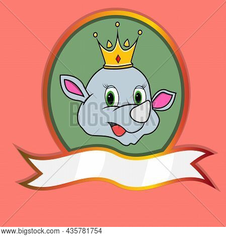 Cute Animal Head With Crown On Frame Label. Rhino Head. Perfect For Cartoon, Logo, Icon And Characte