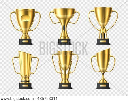 Realistic Golden Trophy Cups. Metal Winning Awards. Different 3d Shapes Of Championship Gold Prizes.
