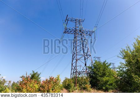 Steel Lattice Anchor Transmission Tower Of Overhead Power Line At The Place Of Transmission Line Dir