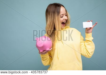 Portrait Of Happy Positive Surprised Amazed Young Attractive Blonde Woman With Sincere Emotions Wear