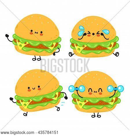 Funny Cute Happy Hamburger Characters Bundle Set. Vector Kawaii Line Cartoon Style Illustration. Cut