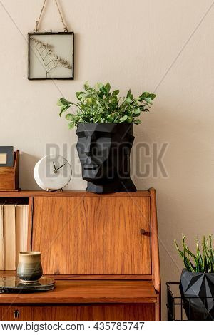 Stylish Retro Composition Of Workspace With Vintage Wooden Cabinet, Cup Of Coffee, Design Pot With P