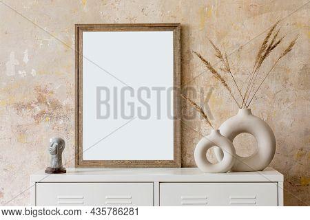 Interior Design Of Living Room With Black Poster Mock Up Frame, Wooden Ladder And Elegant Personal A