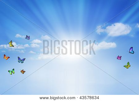 Blue Sky With Butterflies, Natural Background