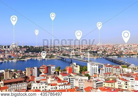 Network connection concept. Aerial view on  Istanbul with location pin. Global positioning system pin map. Map pins with top view on Istanbul, Suleymaniye Mosque and Bosphorus, Turkey