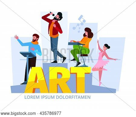 Creative Persons Working. Concept Background With Artists And Designers Making Creative Project Gari