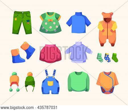 Casual Clothes For Kids. Little Dress Boots Jackets Hats And Pants Fashioned Clothes Garish Vector I