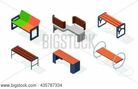 Urban Benches Isometric. Outdoor City Decoration Wooden Square Comfort Furniture Garish Vector 3d Il