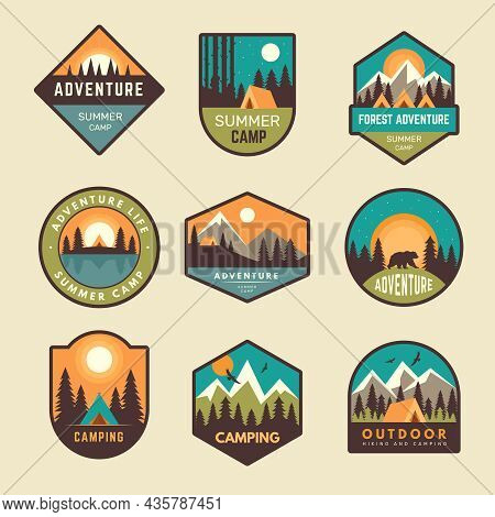 Adventure Badges. Summer Camp Mountains Forest Hiking Exploring Scout Outdoor Labels Hipster Sticker