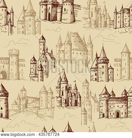 Castles Pattern. Medieval Historical Buildings With Towers Textile Design Projects Template Recent V