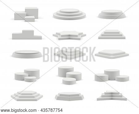 Podium Realistic. Geometrical 3d Round And Square Empty Podium Decent Vector Templates Collection Is