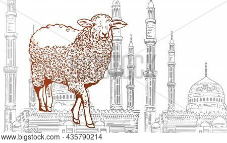 Hand Drawn Sketch Of Sheep And Islamic Mosque With Ornamental Crescent Moon To Festive Banners Of Ei