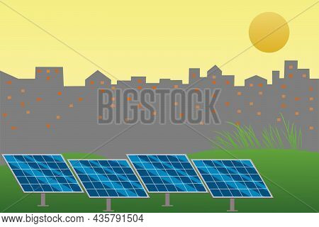Green Energy Sustainable Resources Concept. Solar Photovoltaic Supply Electric To The City. Vector A