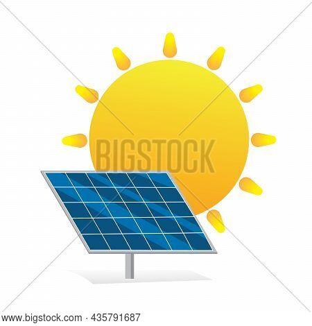Solar Energy Logo. Green Energy Concept. Solar Panel With Sun Flat Design Symbol. Vector And Illustr