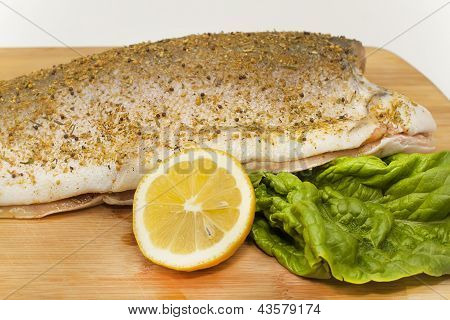 Coho Salmon Marinated Fish Carcass With Spices