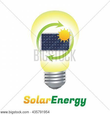 Solar Energy Logo. Green Energy Concept. Light Bulb With Solar Panel Inside Flat Design Symbol. Vect