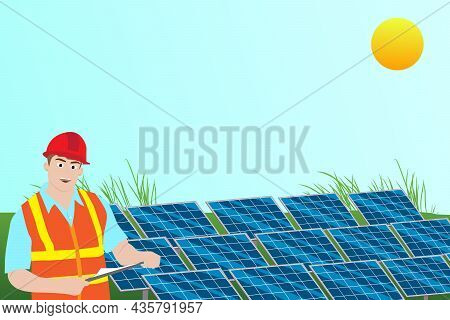 Technician Check Solar Panels At The Solar Station. Photovoltaic Module. Vector And Illustration Des