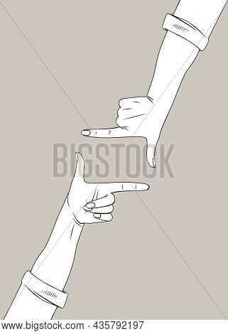 Female hands depict a frame of thumbs and forefingers. Vintage linear engraving stylized drawing. Retro concept poster and banner