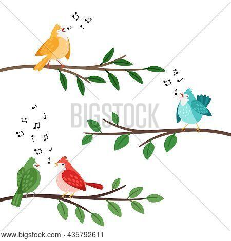 Bird Songs. Singing Birds Friends On Tree Branches, Birdes Cartoon Musical Baby Background, Romantic