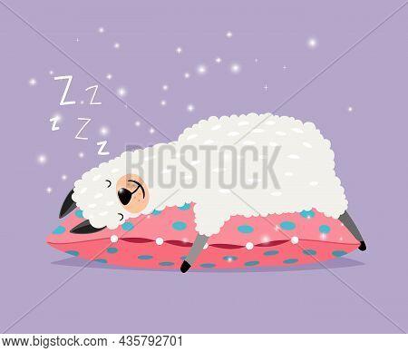 Sleeping Alpaca. Cute Lama Love Sleep On Pillow, Smiling Llama Character In Sweer Dreams, Tired Alpa