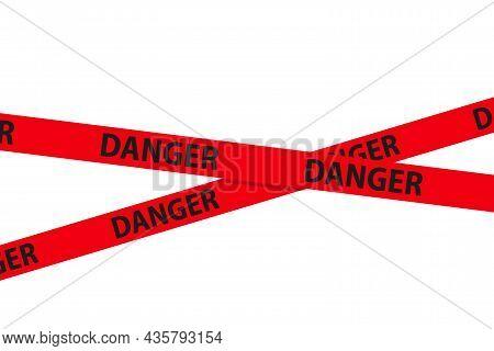Danger, Caution And Warning Tapes. Red Cross Police Stripe Border. Crime Vector Illustration.