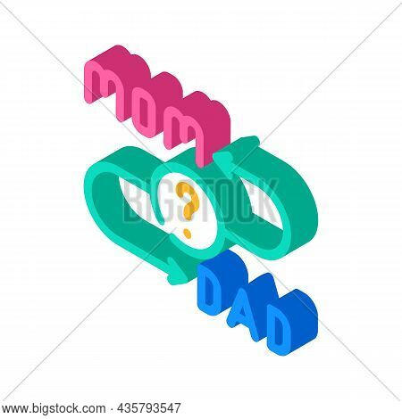 Searching Mom Or Dad After Divorce Isometric Icon Vector. Searching Mom Or Dad After Divorce Sign. I