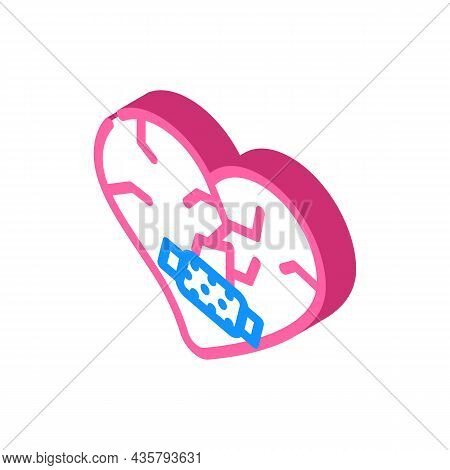 Heart Treatment After Divorce Isometric Icon Vector. Heart Treatment After Divorce Sign. Isolated Sy