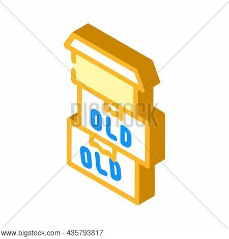Old Things In Box Isometric Icon Vector. Old Things In Box Sign. Isolated Symbol Illustration