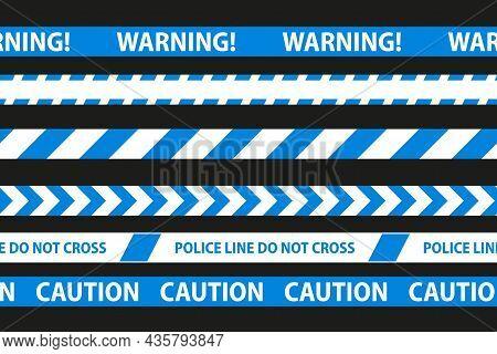 Danger, Caution And Warning Seamless Tapes. Blue Police Stripe Border. Crime Vector Illustration.