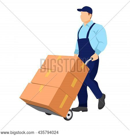 Mover In Uniform Carries A Cart With Cardboard Packaging Boxes.  Relocation. Transport Company. Movi