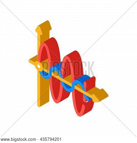 Graph Of Electromagnetic Waves Isometric Icon Vector. Graph Of Electromagnetic Waves Sign. Isolated