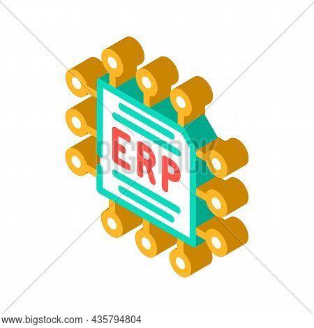 Cpu Enterprise Resource Planning Isometric Icon Vector. Cpu Enterprise Resource Planning Sign. Isola