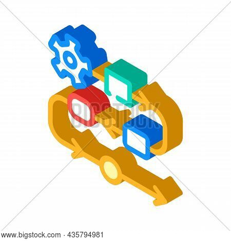 Production Stages At Enterprise Isometric Icon Vector. Production Stages At Enterprise Sign. Isolate