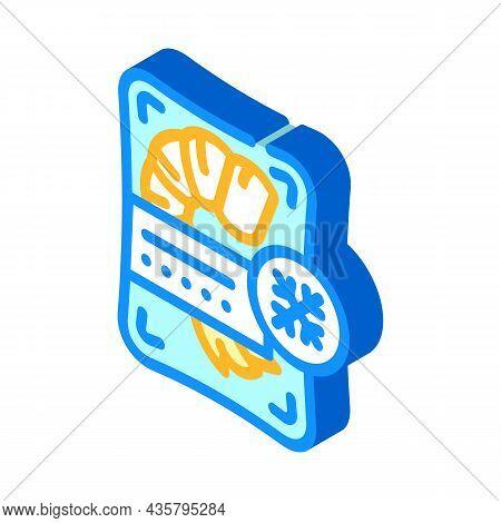 Shrimp Frozen Seafood Isometric Icon Vector. Shrimp Frozen Seafood Sign. Isolated Symbol Illustratio