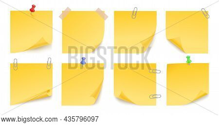 Yellow Sticky Stickers. Note Office Sticker, Memo Post Papers With Pins. Different Sheets Curled Edg