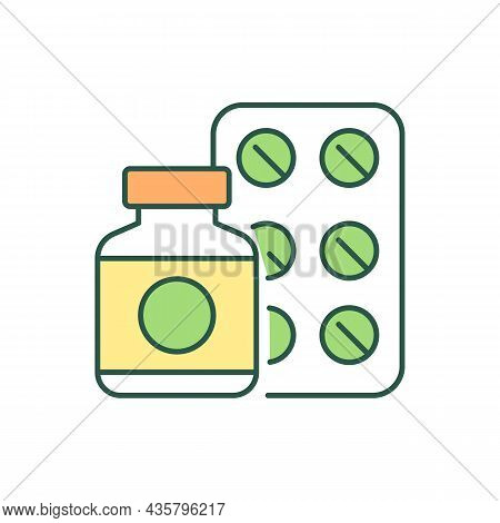 Medications Rgb Color Icon. Remedy And Medicine. Analgesic And Antibiotic. Medicine Therapy And Trea