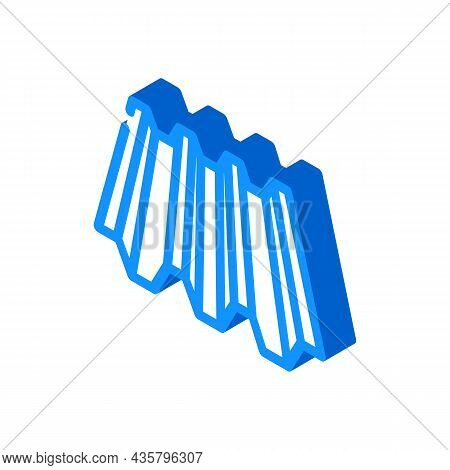 Roof Layer Metal Material Isometric Icon Vector. Roof Layer Metal Material Sign. Isolated Symbol Ill